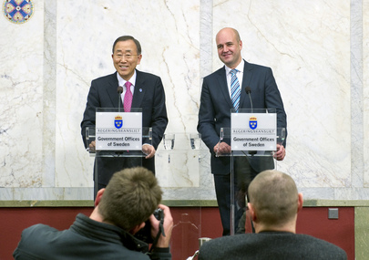 Secretary-General and Swedish Prime Minister Brief Media in Stockholm