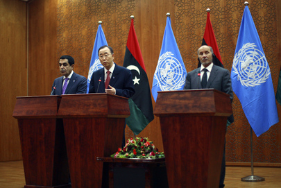 Secretary-General, Assembly President and NTC Head Brief Press in Tripoli