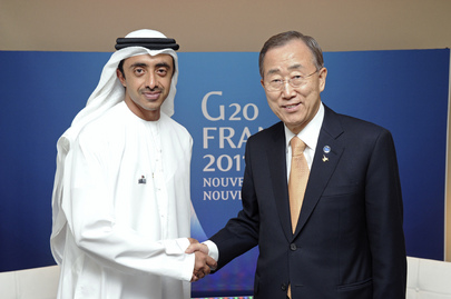 Secretary-General Meets U.A.E. Foreign Minister at Cannes G20