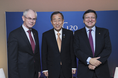 Secretary-General Meets Presidents of European Commission and Council at Cannes G20