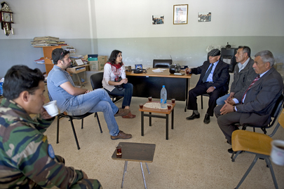 UN Officers Discuss Repair of Local Public School in Lebanon