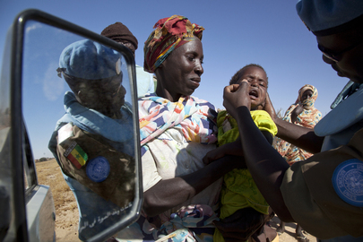 UNAMID Nurse Treats Child in North Darfur Village