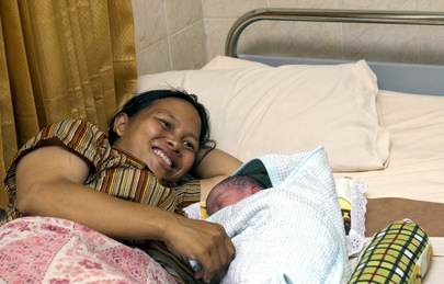 Mother and Child Rest at Health Centre in Bali, Indonesia