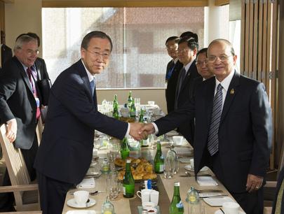 Secretary-General Meets President of Myanmar in Bali