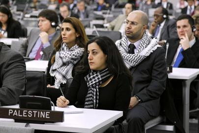 Membros da delegação palestina durante uma reunião especial em Nova York, em observância ao Dia Internacional de Solidariedade com o Povo Palestino, dia 29 de novembro de 2011.