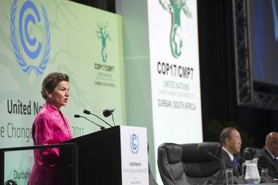 Secretária Executiva da Convenção Quatro das Nações Unidas sobre Mudanças Climáticas (UNFCCC), Christiana Figueres. Foto: ONU/Mark Garten