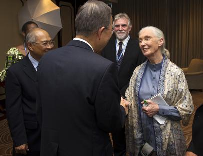 Secretary-General Meets UN Peace Messenger Jane Goodall in Durban