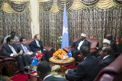 Secretary-General and Assembly President Meet Somali President in Mogadishu