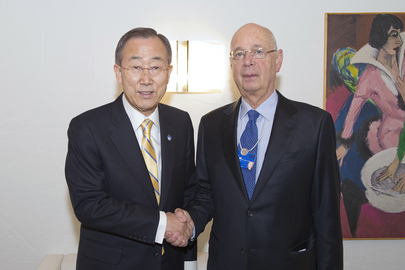 Secretary-General Meets Chairman of World Economic Forum