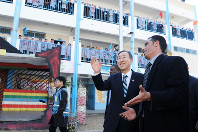 Secretary-General Visits School for Girls in Gaza
