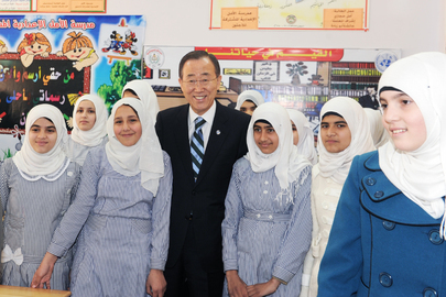 Secretary-General Meets Students of UN-Run School in Gaza