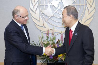 Ministro das Relações Exteriores da Argentina, Héctor Timerman, e o Secretário-Geral da ONU, Ban Ki-moon