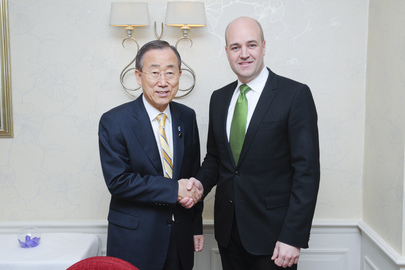 Secretary-General Meets Swedish Prime Minister at London Conference on Somalia