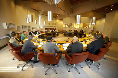 Members of International Court in Deliberation Room at The Hague