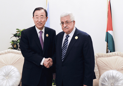 Secretary-General Meets Palestinian Authority President in Baghdad