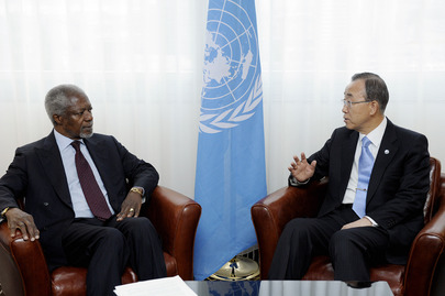 Secretary-General Meets Joint Special Envoy in Geneva