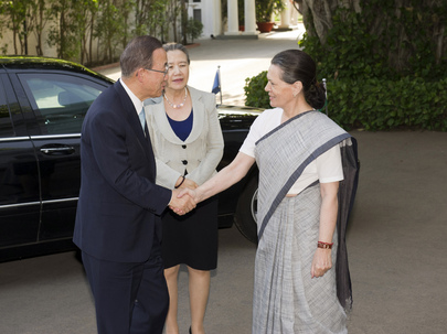 Secretary-General Meets Chair of India's Governing Coalition