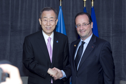 Secretary-General Meets President of France at NATO Summit in Chicago