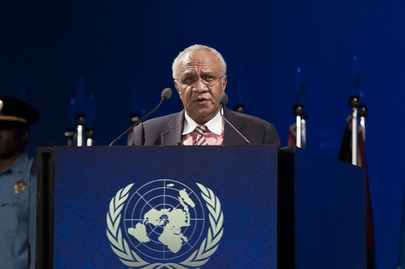 Meltek Sato Kilman Livtunvanu, Prime Minister of the Republic of Vanuatu, addresses the plenary session of the UN Rio+20 Conference on Sustainable Development, in Rio de Janeiro, Brazil (2012).