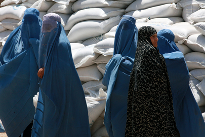 Afghan Women Queue at World Food Programme Distribution Point