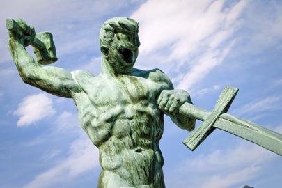 "Sculpture ""Let Us Beat Swords into Ploughshares"""