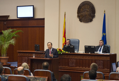 Secretary-General Addresses Parliament of former Yugoslav Republic of Macedonia