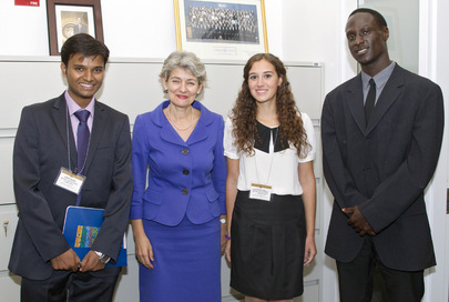 UNESCO Chief Meets Winners of Global Student Speechwriting Contest