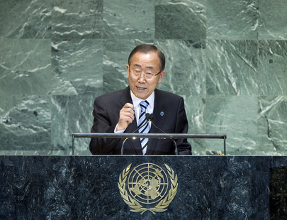 Secretary General Ban Ki-Moon at the General Assembly podium