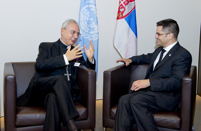 General Assembly President Meets Secretary for States Relations of Holy See