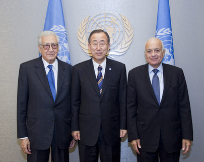 Secretary-General Meets Head of Arab League and Joint Special Representative for Syria