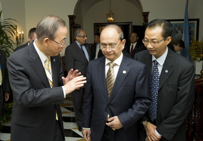 Secretary-General Hosts Breakfast for President of Myanmar