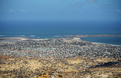 Aerial View of Kismayo, South Somalia