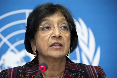 Navi Pillay, UN High Commissioner for Human Rights, speaks to journalists in Geneva on her priorities for her second term in office, which began last month. 18 October 2012 Geneva, Switzerland