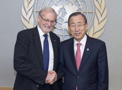 Secretary-General Meets Chancellor of Australian University, Co-Chair of Advisory Board on Responsibility to Protect