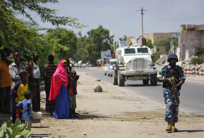 A.U. Police on Patrol in Mogadishu