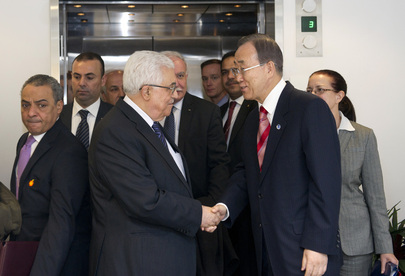 Secretary-General Ban Ki-moon greets Mahmoud Abbas