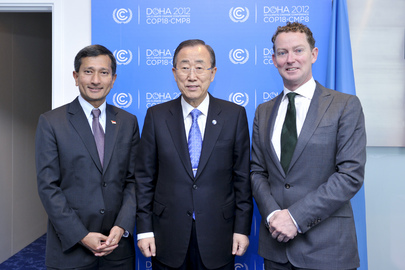 Secretary-General Meets Singapore and U.K. Ministers at Doha Climate Change Conference