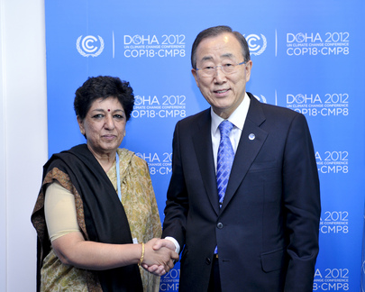 Secretary-General Meets Head of Indian Delegation at Doha Climate Change Conference