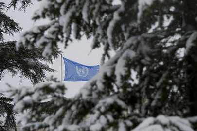 Snowfall at UN's Headquarters in Geneva