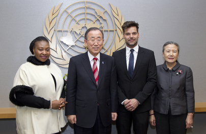 Secretary-General Meets Singers and Activists Yvonne Chaka Chaka and Ricky Martin