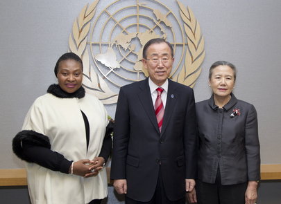 Secretary-General Meets Singer and Activist Yvonne Chaka Chaka