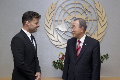 Secretary-General Meets Singer and Actor Ricky Martin