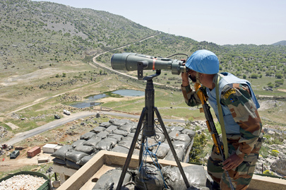 "UNIFIL Peacekeeper Monitors ""Blue Line"" Demarcation Between Israel and Lebanon"