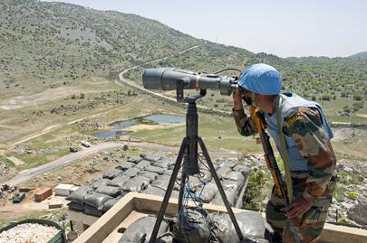 "UNIFIL Peacekeeper Monitors ""Blue Line"" Demarcation Between Israel and Lebanon"