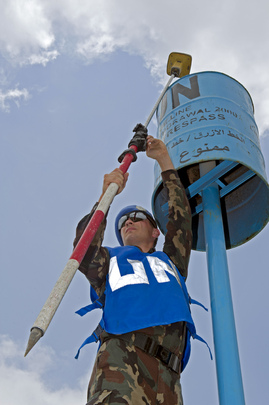 "UNIFIL Officers Measures ""Blue Barrel"" Coordinates Along the Blue Line"