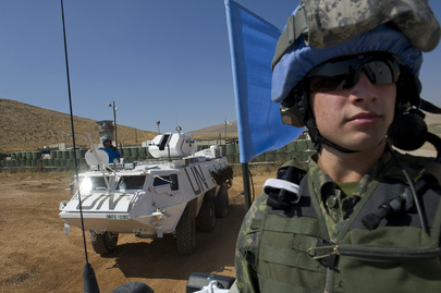 UNIFIL Peacekeepers on Armoured Patrol Near Blue Line in Lebanon