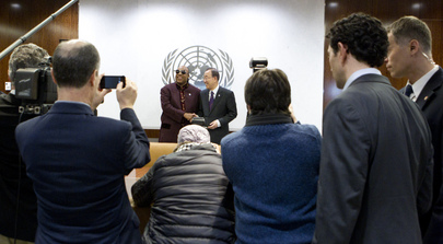 Secretary-General Meets UN Peace Messenger Stevie Wonder