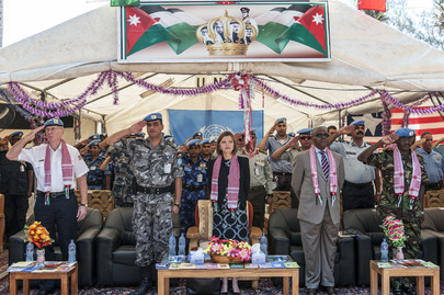 Jordanian Police Officers receive UN Medal at UNMIL