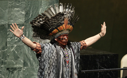Nilson Tuwe Huni Kuĩ, an indigenous leader from the Western Amazon in Brazil, delivers an invocation. 14 February 2013