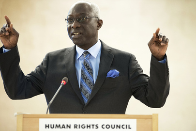 Adama Dieng, Special Advisor to the Secretary-General on the Prevention of Genocide, addresses the high-level segment of the Human Rights Council's twenty-second regular session. 28 February 2013 Geneva, Switzerland Photo # 543487